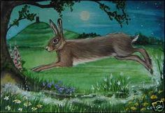 "ACEO, Print Hare ""Avalon Magic"" Glastonbury Tor"