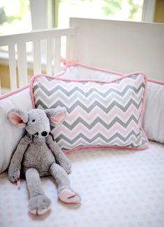 cute little pink & gray chevron pillow