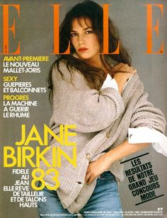 Jane Birkin on the cover of French ELLE April 1983.