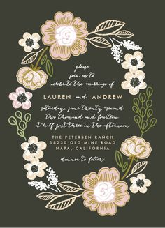 botanical wreath, wedding invitation by @Alethea Brooks Brooks  for minted.
