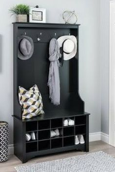 Love the clean simple lines and the added storage..Bring style and organization to one of the busiest areas of the home with the Prepac Wide Hall Tree with Shoe Storage #entrywayideas #storage #hallway #homedecor #affiliate