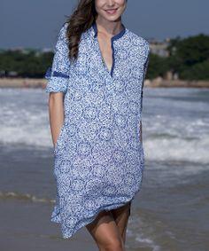 Blue Floral Amine V-Neck Cover-Up -