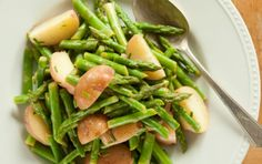 Red Potato and Asparagus Salad  This might make it to the table for Easter.