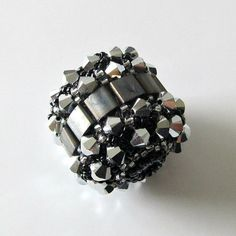 Beaded bead, Swarovski crystals, handmade, silver and  black, comet argent light