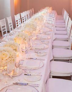 all white wedding flowers white chivari chairs and white linen at @Bacara Resort