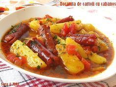 Potato stew with sausages Egg Recipes, Cooking Recipes, Healthy Recipes, Fish And Eggs Recipe, Stewed Potatoes, Romanian Food, Food To Make, Food And Drink, Yummy Food