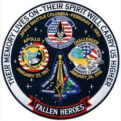 Apollo 1 + Space Shuttle Columbia & Challenger Embroidered Tribute Art Patch NEW - Astronomy Space Shuttle Missions, Nasa Missions, Apollo Missions, Apollo Space Program, Nasa Space Program, Constellations, Nasa Patch, Nasa History, Nasa Astronauts