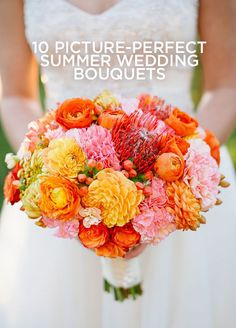 Vivid hues and soft accents can work together to catch every guest's eye as you make your way down the aisle. Get inspired by these fresh summer style bouquets. http://www.colincowieweddings.com/articles/flowers/10-picture-perfect-summer-wedding-bouquets