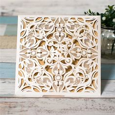 Pearl White Lasercut Invitation – On Deck Design