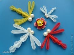 DRAGON FLY TUTORIAL Master class Tsumami Kanzashi: Dragonfly.  Beads, glue, tape, Threads.  Photo 1