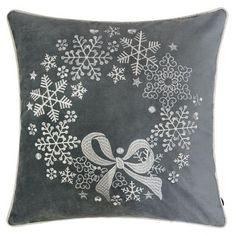 This throw pillow features a super-soft fiber. An essential decorative staple for your living room couch, armchair, lounge, sofa, throw, floor, bench or bedroom. 100% durable removable cover Hidden zipper 100% polyester fiber filling Pillow cover is 100% polyester velvet Finest applique embroidery Pillows filled and packaged in the United States Size: 20 x 20. Color: Gray. Pattern: Embroidered. Couch Cushions, Fur Throw Pillows, Throw Pillow Covers, Accent Pillows, Sofa Throw, Christmas Cushions, Christmas Pillow Covers, Reindeer Horns, Oversized Pillows