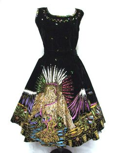 Stunning 1950s Vintage Hand Painted Sequin Mexico 2pc Dress Circle Skirt Top | eBay