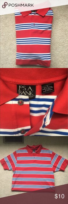 Jos A. Bank polo shirt, size large Jos A. Bank men's polo shirt. Red with blue and white stripes. 2 buttons in the front. 100% cotton. In great condition. jos a bank Shirts