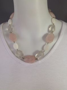 Short, chunky gemstone necklace with large faceted rose quartz, mother of pearl and clear quartz nuggets - Michela Rae