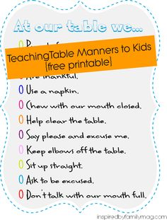 Teaching Boys Table Manners