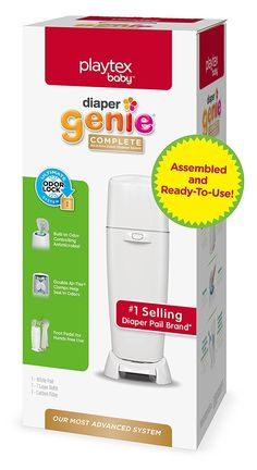 Playtex Diaper Genie Complete Diaper Pail, Fully Assembled, with Odor Lock Technology, Includes 1 Pail & 1 Refill, White #baby  #babyregistry #babyessentials #WhatBabiesLove #babyproducts #babymusthave #pregnantdogideas #diapers #babies #newmoms  #parentingtips  #moneysaving  #baby  #pregnancy #mom #toys