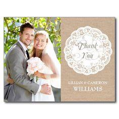 Burlap Lace Doily Wedding Thank You Postcard Post Cards
