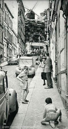 mimbeau:  Le Moulin de la Galette- Montmartre Paris circa 1960 Jacques Verroust