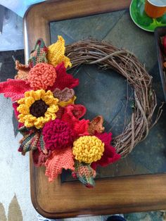 Crocheted Wreath Fall Wreath 3