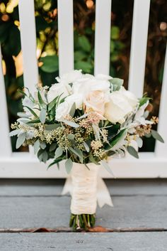 white and light pink wedding bouquet