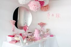 Such a pretty display!  Visualizing in pink and orange, with paper lanterns instead of pom poms....