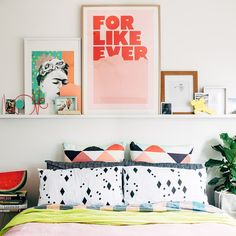 dream home | bedroom - funky patterned pillows + gallery wall shelf