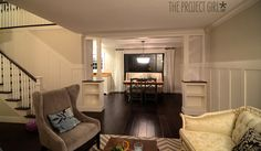 craftsman style room divider columns added to DIY living room renovation.   Jenallyson - The Project Girl - Fun Easy Craft Projects including Home Improvement and Decorating - For Women and Moms
