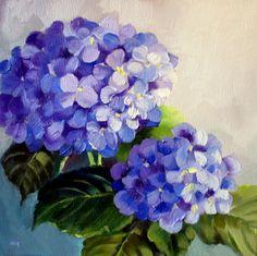 paintings of hydrangeas | Saturday Hydrangea - SOLD