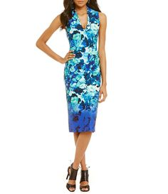 Vince Camuto Watercolor Floral-Print Midi Dress.  I lhave this dress - again more form fitting than I am used to - however looks great and I love the colors and neckline
