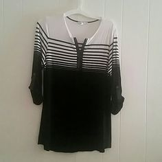 Top Black & White stripe with leather loops on sleeves & around front zipper Maria Gabrielle  Tops Blouses