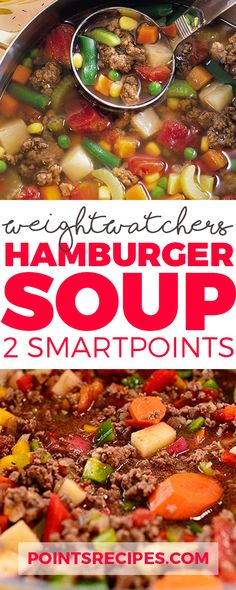 Weight Watchers Hamburger Soup SmartPoints only) Skinny Recipes, Ww Recipes, Soup Recipes, Cooking Recipes, Healthy Recipes, Fall Recipes, Weight Watchers Soup, Weight Watchers Smart Points, Weight Watcher Dinners
