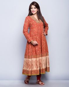 Cotton Cambric FabricFlairedKalamkari PrintOverlap V NeckFull SleevesHand Wash Separately in Cold Water