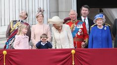 LONDON, ENGLAND - JUNE 15: Prince Edward, Earl of Wessex, Lady Helen Windsor, James Viscount Severn, Sophie, Countess of Wessex,  Camilla, Duchess of Cornwall, Prince Charles, Prince of Wales, Sir Timothy Laurence, Princess Anne, Princess Royal and Queen Elizabeth II stand on the balcony at Buckingham Palace during the annual Trooping the Colour Ceremony on June 15, 2013 in London, England.