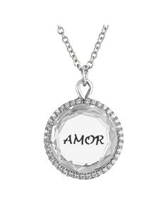 Amor Pendant  in White Topaz with Black Engraving and Diamonds in White Gold