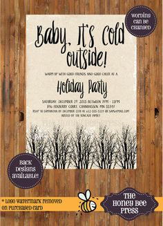 Holiday Party Invitation  Baby It's Cold Outside Christmas Party Invitation  by TheHoneyBeePress