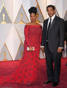 Star power: Fences star Denzel Washington poses with wife Pauletta...