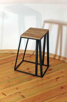 Attractive Stool, Wooden, Iron, Wave, Kraina ES Design Ideas