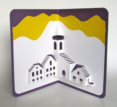 PopUp 3D Card Origamic Architecture Handmade Depicts by BoldFolds, $25.00