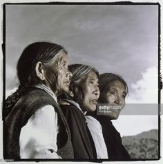 Stock Photo : India, Dharamsala, three elderly Tibetan women (tinted B&W)