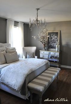 Def need a bench. And a chandelier for the master bedroom! grey white master bedroom - Decor It Darling, super cute bench Dream Bedroom, Home Bedroom, Master Bedrooms, Grey Bedrooms, Trendy Bedroom, Master Room, Mirror Bedroom, Coastal Bedrooms, Queen Bedroom