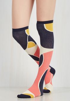 State of the Artistic Socks. For the gal whose creative demeanor couldnt be keener, these colorblocked socks are the epitome of your carefully curated hosiery! #yellow #modcloth