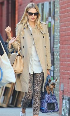 Lots going on.leopard pants, trench, goyard bag and super cute puppy Daily Fashion, Love Fashion, Fashion Models, Autumn Fashion, Models Style, Fashion 2015, Fashion Spring, Balmain, Margot Robbie Style