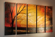 """Title: SANDSTORM Overall Dimension: 62"""" x 36"""" / 180x90cm  Sandstorm is part of Studio Mojo Artwork's gallery warp acrylic painting series. It's beautifully painted by our commissioned artists with vivid canvas details and multi-panel (polyptych) design. This artwork is ready for hanging and currently on display at our Art Gallery in western Canada"""