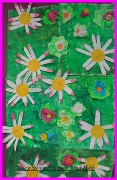 Après les grandes sections, voici ce qu'une classe de petite section a réalisé pour le printemps . Ce sont des grandes fleurs réalisées en peinture et pâte à sel : Puis d'autres fleurs en peinture et collage comme pour une grande marguerite. Toutes ces...
