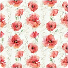 watercolor poppy patterns by Natalia Tyulkina, via Behance