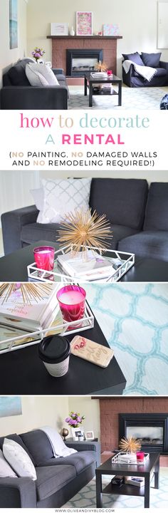 6 great tips and tricks to help you decorate your rental apartment/house/suite without making any major changes that your landlord may not approve of. Time to make your place look like home! AD
