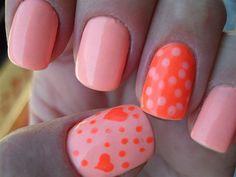Neon Heart Nails