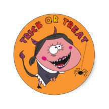 Funny Devil Girl Trick or Treat Halloween Stickers