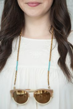 croakies  beaded sunglass chain  gold with teal by bijouxbeautique, $24.00