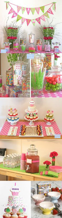 a sweet candy affair (free printable templates for cupcake toppers, napkin holders and other party ideas on accenttheparty.com)